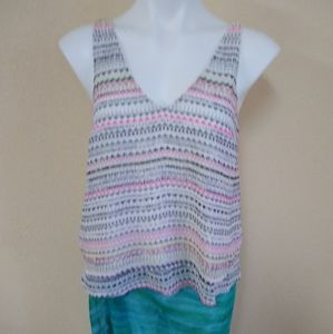 Candies Double Layer Sleeveless Striped Top Size M